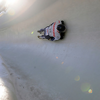28 February 2007:  Anthony Sawyer of Great Britain in turn 14 the 4th run at the Men's Skeleton World Championships competition on February 28 at the Olympic Sports Complex in Lake Placid, NY.