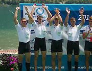Aiguebelette, FRANCE.   GER M4X  Silver Medallist. Karl SCHULZE, Kai FUHRMANN, Philipp WENDE and Tim GROHMANN.   2014 FISA World Cup II, 12:58:04  Sunday  22/06/2014. [Mandatory Credit; Peter Spurrier/Intersport-images]
