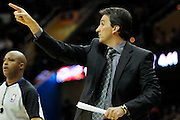 Feb. 11, 2011; Cleveland, OH, USA; Los Angeles Clippers head coach Vinny Del Negro yells to his team during the first quarter against the Cleveland Cavaliers at Quicken Loans Arena. Mandatory Credit: Jason Miller-US PRESSWIRE