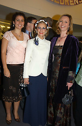 Left to right, CLEMMIE BRIANCE, The MARCHIONESS OF LONDONDERRY and FIONA CHADWICK at a performance by the London Childrens Ballet of 'The Little Princess' at The Peacock Theatre, Portugal Street, London WC2 on 19th May 2005.<br /><br />NON EXCLUSIVE - WORLD RIGHTS