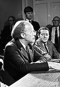 Erskine Childers Press Conference..1973..31.05.1973..05.31.1973..31st May 1973..At a press conference at Fianna Fail headquarters, Mr Erskine Childers, was confirmed as the winner of the presidential campaign. He won by a margin of 52% to 48% beating the favourite Tom O'Higgins,Fine Gael..A portrait of President Elect,Mr Erskine Childers, at his press conference.Also pictured is party colleague, Mr Brian Lenihan.