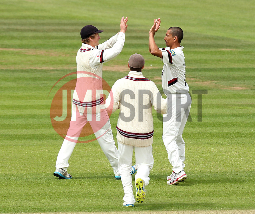 Somerset's Alfonso Thomas celebrates taking the wicket of Hampshire Captain James Adams - Photo mandatory by-line: Robbie Stephenson/JMP - Mobile: 07966 386802 - 22/06/2015 - SPORT - Cricket - Southampton - The Ageas Bowl - Hampshire v Somerset - County Championship Division One