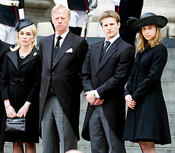 Son of Margaret Thatcher, stands with his wife Sarah and his children Amanda and Michael as they leave St Paul's Cathedral at the end of the ceremonial funeral, St Paul's Cathedral, London, UK, Wednesday 17 April, 2013, Photo by: i-Images