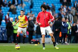 Marouane Fellaini of Manchester United warms up - Photo mandatory by-line: Rogan Thomson/JMP - 07966 386802 - 02/11/2014 - SPORT - FOOTBALL - Manchester, England - Etihad Stadium - Manchester City v Manchester United - Barclays Premier League.