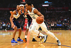 December 29, 2018 - Los Angeles, CA, U.S. - LOS ANGELES, CA - DECEMBER 29: San Antonio Spurs Guard DeMar DeRozan (10) drives past Los Angeles Clippers Forward Tobias Harris (34) during a NBA game between the San Antonio Spurs and the Los Angeles Clippers on December 29, 2018 at STAPLES Center in Los Angeles, CA. (Photo by Brian Rothmuller/Icon Sportswire) (Credit Image: © Brian Rothmuller/Icon SMI via ZUMA Press)