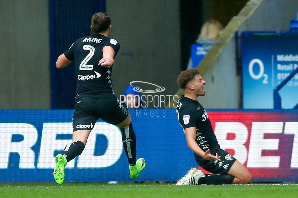 Leeds United midfielder Kalvin Phillips (23) scores a goal and celebrates to make the score 1-3 during the EFL Sky Bet Championship match between Bolton Wanderers and Leeds United at the Macron Stadium, Bolton, England on 6 August 2017. Photo by Simon Davies.
