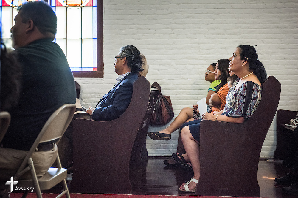 Parishioner Anna Sanchez listens during the installation service for the Rev. Dr. Antonio Lopez, new national missionary pastor at El Calvario Lutheran Church on Sunday, July 31, 2016, at the parish in Brownsville, Texas. LCMS Communications/Erik M. Lunsford