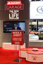 "12 February 2015: The State Farm Garage features a virtual driving course and a place to ""park and charge"" your cellular phones and electronic devices to help you stay in touch while at the show.  #‎StateFarmGarage‬<br />
