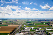 Nederland, Noord-Holland, Hoofddorp, 01-08-2016; NS emplacement Hoofddorp, industrieterrein Graan voor Visch en Bedrijvenpark De President.<br /> Hoofddorp, railway yard and environment.<br /> luchtfoto (toeslag op standard tarieven);<br /> aerial photo (additional fee required);<br /> copyright foto/photo Siebe Swart