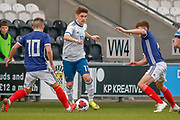 Kiril Schetinin gets between Kai Kennedy (Rangers FC) & Cameron Logan (Heat of Midlothian) during the U17 European Championships match between Scotland and Russia at Simple Digital Arena, Paisley, Scotland on 23 March 2019.