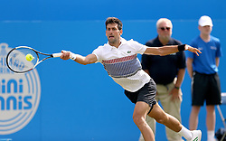 Serbia's Novak Djokovic in action against France's Gael Monfils in the Men's Singles Final during day nine of the AEGON International at Devonshire Park, Eastbourne.