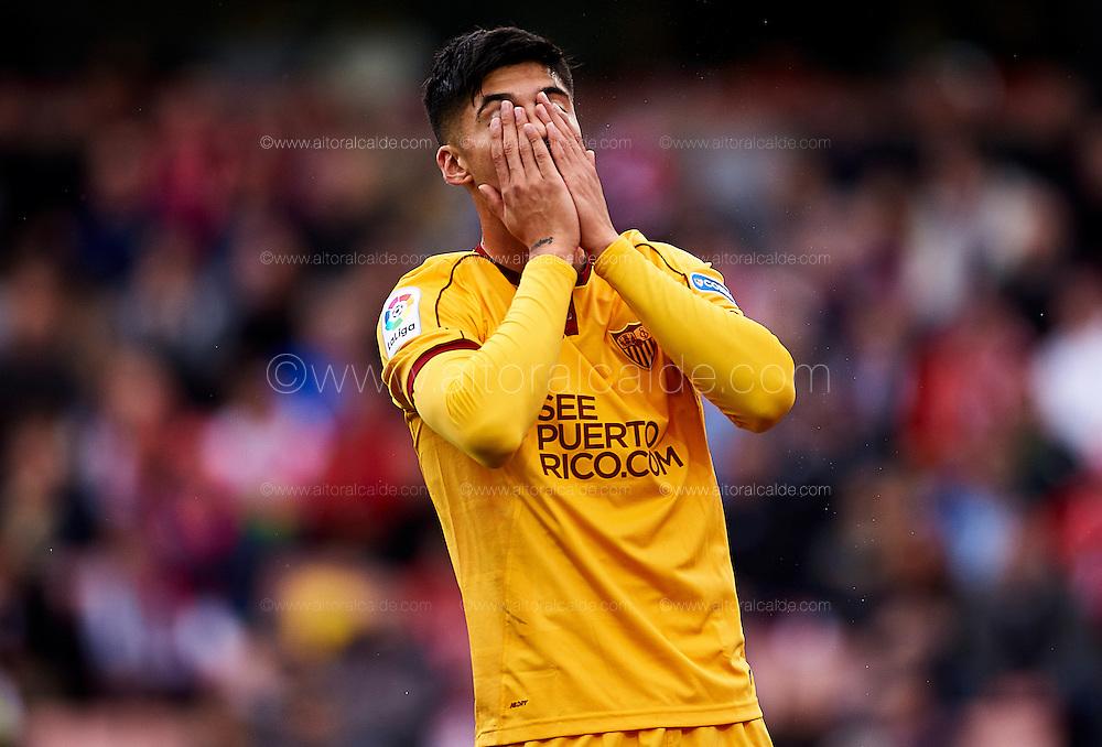 GRANADA, SPAIN - DECEMBER 03:  Joaquin Correa of Sevilla FC reacts during the La Liga match between Granada CF and Sevilla FC at Estadio Nuevos Los Carmenes on December 03, 2016 in Granada, Spain.  (Photo by Aitor Alcalde Colomer/Getty Images)