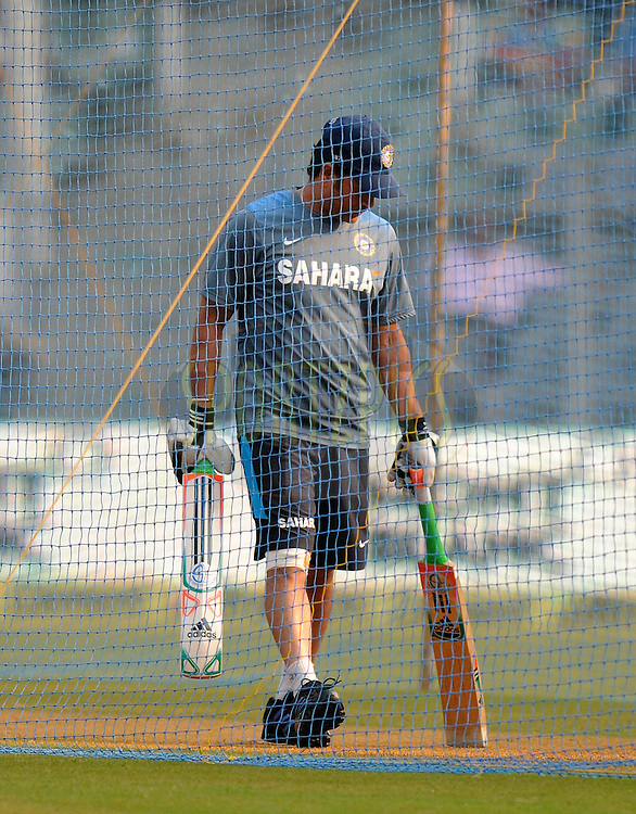 Sachin Tendulkar of India before the start of the play on day two of the second Star Sports test match between India and The West Indies held at The Wankhede Stadium in Mumbai, India on the 15th November 2013<br /> <br /> This test match is the 200th test match for Sachin Tendulkar and his last for India.  After a career spanning more than 24yrs Sachin is retiring from cricket and this test match is his last appearance on the field of play.<br /> <br /> <br /> Photo by: Pal PIllai - BCCI - SPORTZPICS<br /> <br /> Use of this image is subject to the terms and conditions as outlined by the BCCI. These terms can be found by following this link:<br /> <br /> http://sportzpics.photoshelter.com/gallery/BCCI-Image-Terms/G0000ahUVIIEBQ84/C0000whs75.ajndY
