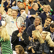 Andy Murray, Great Britain, throws his racquet into the crowd after defeating Novak Djokovic, Serbia, in the Men's Singles Final during the US Open Tennis Tournament, Flushing, New York. USA. 10th September 2012. Photo Tim Clayton