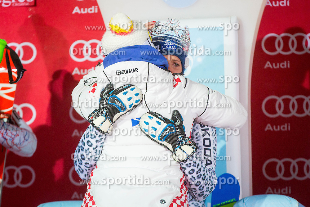 "Veronika Velez Zuzulova (SVK) during  Flower Ceremony after the FIS Alpine Ski World Cup 2016/17 Ladies Slalom race named ""Snow Queen Trophy 2017"", on January 3, 2017 in Course Crveni Spust at Sljeme hill, Zagreb, Croatia. Photo by Ziga Zupan / Sportida"