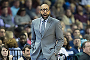 MEMPHIS, TN - OCTOBER 30:  Head Coach David Fitzdale of the Memphis Grizzlies yells to his team during a game against the Charlotte Hornets at the FedEx Forum on October 30, 2017 in Memphis, Tennessee.  NOTE TO USER: User expressly acknowledges and agrees that, by downloading and or using this photograph, User is consenting to the terms and conditions of the Getty Images License Agreement.  The Hornets defeated the Grizzlies 104-99.  (Photo by Wesley Hitt/Getty Images) *** Local Caption *** David Fitzdale