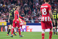 Atletico de Madrid Antoine Griezmann and Diego Costa during UEFA Europa League match between Atletico de Madrid and Sporting de Lisboa at Wanda Metropolitano in Madrid, Spain. April 05, 2018. (ALTERPHOTOS/Borja B.Hojas)