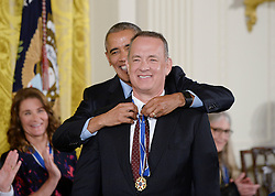 US President Barack Obama presents actor Tom Hanks with the Presidential Medal of Freedom, the nation's highest civilian honor, during a ceremony honoring 21 recipients, in the East Room of the White House in Washington, DC, November 22, 2016. Photo by Olivier Douliery/ABACA