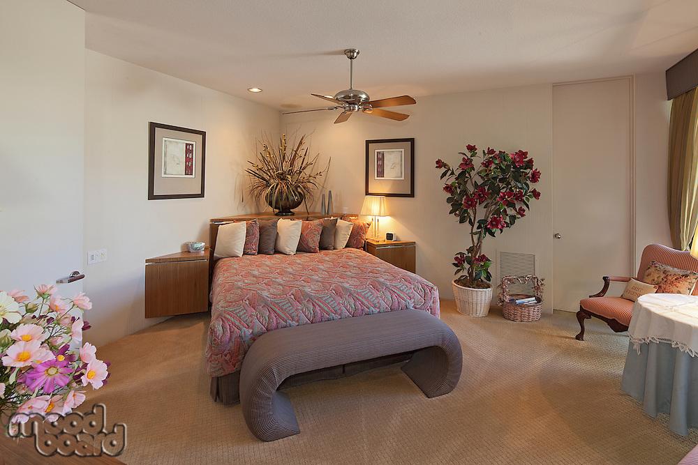 Bedroom interior of luxury manor house
