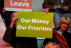 © London News Pictures. 15/04/2016. Manchester, UK. Campaigners attend a Vote Leave campaign event in Manchester, attended by Boris Johnson, ahead of a referendum on Britain's membership of the EU on June 23rd, 2016.  . Photo credit: Ben Cawthra/LNP
