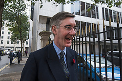 © Licensed to London News Pictures. 04/11/2019. London, UK. JACOB REES MOGG arrives at Conservative Party headquarters in Westminster, central London. A general election has been called on December 12th in an attempt to get a Brexit agreement through parliament. Photo credit: Ben Cawthra/LNP
