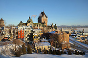 Upper Town, with the Chateau Frontenac, opened 1893, designed by Bruce Price as a chateau style hotel for the Canadian Pacific Railway company or CPR, in Quebec City, Quebec, Canada. The building was extended and the central tower added in 1924, by William Sutherland Maxwell. The building is now a hotel, the Fairmont Le Chateau Frontenac, and is listed as a National Historic Site of Canada. The Historic District of Old Quebec is listed as a UNESCO World Heritage Site. Picture by Manuel Cohen