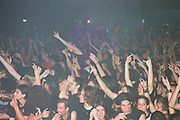 Israel, Tel Aviv, ecstatic crowd of teenagers near the stage during a Heavy Metal rock concert as seen from the stage