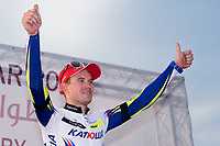 Podium, KRISTOFF Alexander (NOR) Katusha, winner, during the 14th Tour of Qatar 2015, Stage 5, Al Zubarah Fort - Madinat Al Shamal (153Km), on February 12, 2015. Photo Tim de Waele / DPPI