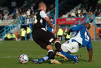 Photo: Ian Hebden.<br />Chesterfield United v Swansea City. Coca Cola League 1. 14/10/2006.<br />Chesterfields Reuben Hazell (L) tackles Swanseas Lee Trundle (R) in the area.
