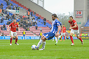 Wigan Striker Will Grigg misses a penalty during the Sky Bet League 1 match between Wigan Athletic and Coventry City at the DW Stadium, Wigan, England on 9 April 2016. Photo by John Marfleet.