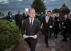 © Licensed to London News Pictures. 22/01/2018. Folkstone, UK. UKIP Leader HENRY BOLTON is pursued by reporters after he gave a statement outside his hotel following a series of resignations within the party. Bolton, who has only been leader of UKIP since September 2017, has come under pressure following unfavourable stories in the press about his personal life and the behaviour of his former girlfriend Jo Marney. Photo credit: Peter Macdiarmid/LNP