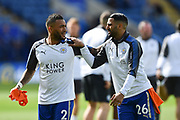 Leicester City Danny Simpson (2) warming up with Leicester City midfielder Riyad Mahrez (26) during the Premier League match between Leicester City and Chelsea at the King Power Stadium, Leicester, England on 9 September 2017. Photo by Jon Hobley.