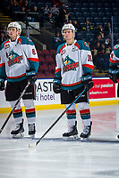 KELOWNA, CANADA - FEBRUARY 8: Kaedan Korczak #6 and Michael Farren #16 of the Kelowna Rockets line up against the Prince George Cougars  on February 8, 2019 at Prospera Place in Kelowna, British Columbia, Canada.  (Photo by Marissa Baecker/Shoot the Breeze)