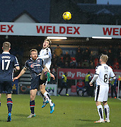 Dundee&rsquo;s Kevin Holt outjumps Ross County&rsquo;s Craig Curran - Ross County v Dundee, Ladbrokes Premiership at Victoria Park<br /> <br />  - &copy; David Young - www.davidyoungphoto.co.uk - email: davidyoungphoto@gmail.com
