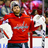WASHINGTON, DC - JANUARY 7:  Washington Capitals goaltender Braden Holtby (70) spits a stream of water on to the ice on January 07, 2018, at the Capital One Arena in Washington, D.C.  The Washington Capitals defeated the St. Louis Blues, 4-3 in overtime.