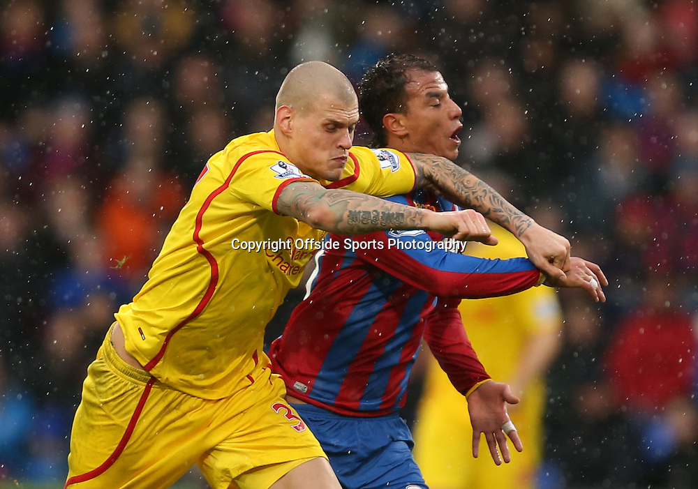 23 November 2014 - Barclays Premier League - Crystal Palace v Liverpool - Martin Skrtel of Liverpool elbows Marouane Chamakh of Crystal Palace in the face - Photo: Marc Atkins / Offside.