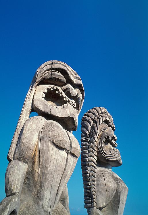 Carved wooden ki'i at Pu'uhonua O Honaunau National Historical Park, South Kona, Island of Hawaii.