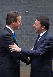 (L-R) David Cameron greets the Prime Minister of Italy Matteo Renzi at Downing Street. Matteo Renzi leader of the centre-left Democratic Party, is making his first visit to the UK,10 Downing Street, London, United Kingdom. Tuesday, 1st April 2014. Picture by Daniel Leal-Olivas / i-Images