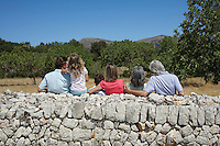 Three-generation family with two children (6-11) by stone wall back view