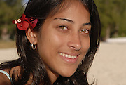 Mauritian young woman with flower face has indian influence, Mauritius