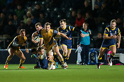 Andy Uren of Bristol Rugby is tackled by Jamie Shillcock of Worcester Warriors - Rogan Thomson/JMP - 04/11/2016 - RUGBY UNION - Sixways Stadium - Worcester, England - Worcester Warriors v Bristol Rugby - The Anglo Welsh Cup.