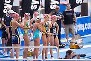 Lisa Norden SWE, Emma Moffatt AUS, Emma Snowsill AUS, Felicity Abram AUS, Debbie Tanner NZL Gather Prior To The Swim Start.Womens ITU Race.2011 Dextro Energy Triathlon ITU World Championship Sydney.Sydney, New South Wales, Australia..Hosted By USM Events.Proudly Supported By Asics, Dextro, Suunto, Events New South Wales, Subaru, USM Events..10/04/2011.Photo Lucas Wroe