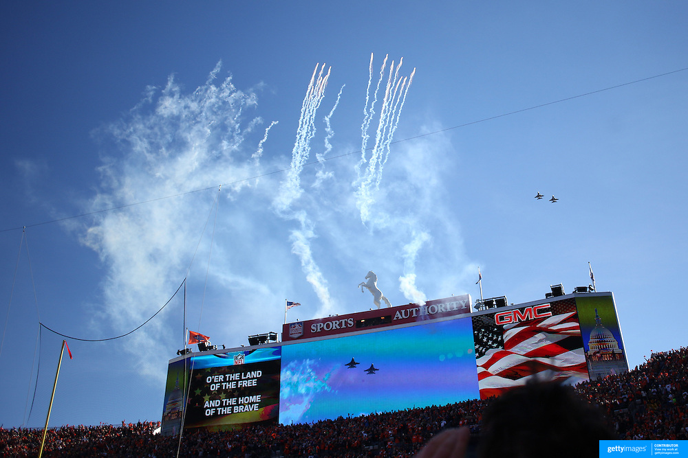 Fireworks and a flypast while the National Anthem is sung before the Denver Broncos vs Pittsburgh Steelers, NFL Divisional Round match at Authority Field at Mile High, Denver, Colorado.  17th January 2016. Photo Tim Clayton