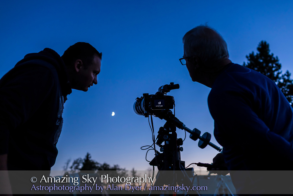 Lukas and Stephen shooting the Moon through Stephen's 140mm TEC refractor, at the Saskatchewan Summer Star Party, August 26, 2017.