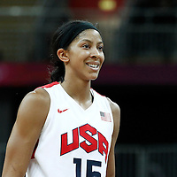 07 August 2012: USA Candace Parker rests during 91-48 Team USA victory over Team Canada, during the women's basketball quarter-finals, at the Basketball Arena, in London, Great Britain.