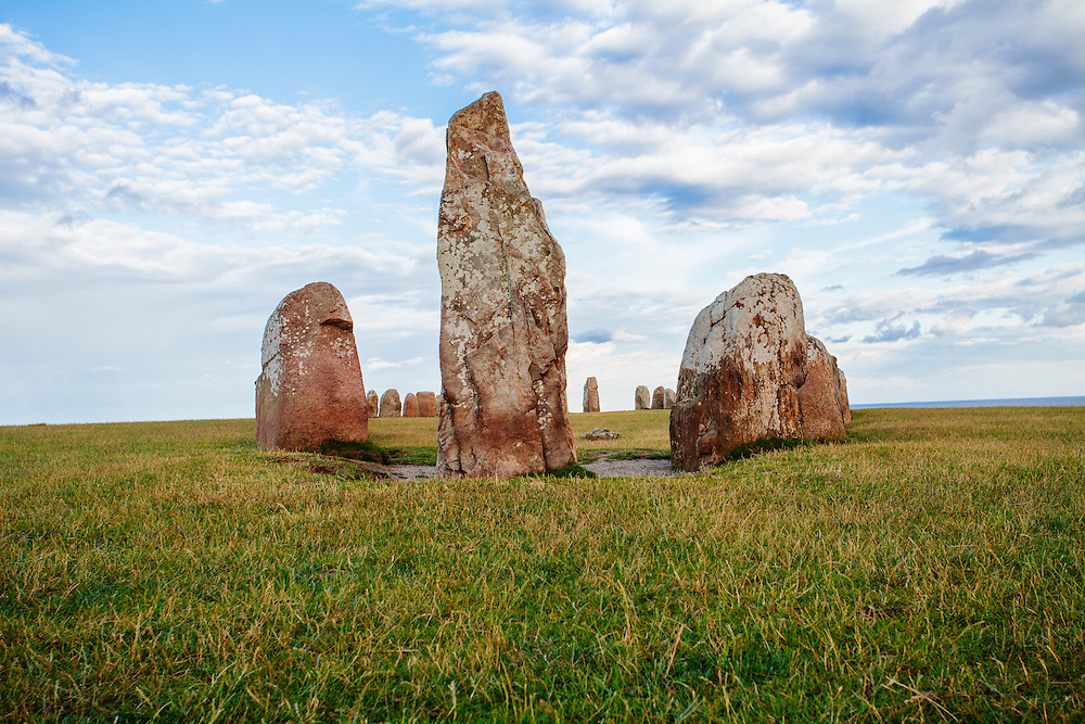 A view of the stones next to each other.  The tallest of the stones stand on the middle of the picture