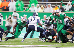 Oct 3, 2015; Huntington, WV, USA; Marshall Thundering Herd wide receiver Hyleck Foster fumbles the opening kickoff as Old Dominion Monarchs recover at Joan C. Edwards Stadium. Mandatory Credit: Ben Queen-USA TODAY Sports
