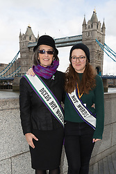© Licensed to London News Pictures. 05/03/2017. LONDON, UK.  Helen Pankhurst, the great granddaughter of Suffragette, Emmeline Pankhurst with Laura Pankhurst prepare to take part in the March4Women, organised by CARE International to mark International Women's Day. The Women's Day March begins at The Scoop near City Hall, before proceeding over Tower Bridge and finishing at the Tower of London. Photo credit: Vickie Flores/LNP