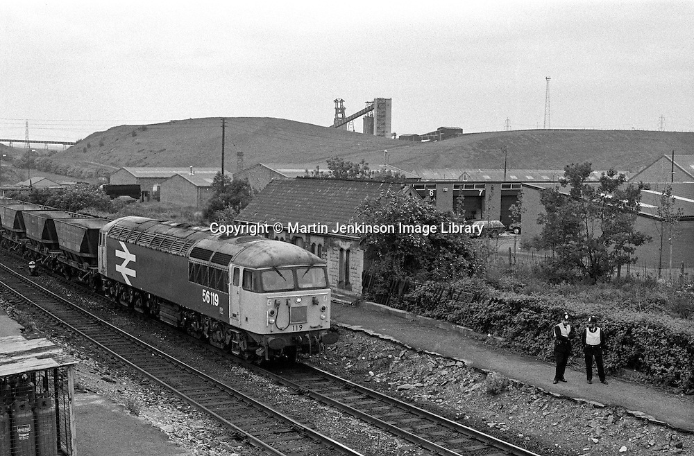 Transport Police patrol the rail line next to Shirebrooke Colliery during the 1984-85 Miners Strike.12 June 1984.