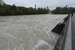 59754193 <br /> Floods at Cable bridge Munich, Germany, June 3, 2013 .UK ONLY, June 3, 2013 .UK ONLY